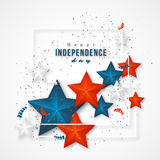 American independence day. Holiday background with frame, 3d stars and confetti. Vector illustration vector illustration