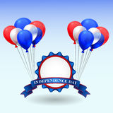 American Independence Day. Holiday illustration with badge and balloons Stock Images