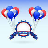 American Independence Day. Holiday illustration with badge and balloons Royalty Free Stock Images