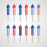 American Independence Day. Holiday rocket. Set. EPS 10 Royalty Free Stock Images