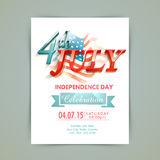 American Independence Day invitation card. Stylish invitation card with 3D glossy text 4th of July on national flag for American Independence Day celebration royalty free illustration