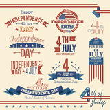 American independence day label set. Set of labels for the U.S. Independence Day - July 4 Royalty Free Stock Photography