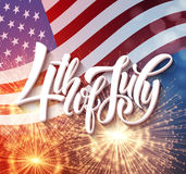 American Independence Day lettering design. A template background for greeting cards, posters, leaflets and brochure. Vector illustration EPS10 Stock Photo