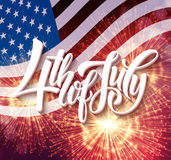 American Independence Day lettering design. A template background for greeting cards, posters, leaflets and brochure. Vector illustration EPS10 Stock Image