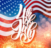 American Independence Day lettering design. A template background for greeting cards, posters, leaflets and brochure. Vector illustration EPS10 Stock Images