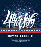 American Independence Day lettering design. A template background for greeting cards, posters, leaflets and brochure. Vector illustration EPS10 Royalty Free Stock Photo