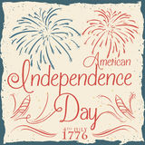 American Independence Day Poster with Fireworks in Retro Style, Vector Illustration Stock Images
