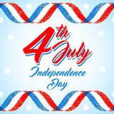 American Independence day poster template, 4th July background. Ribbon flags and glitter. American patriotic background, Independence day 4 th july. Vector stock illustration