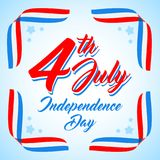 American Independence day poster template, 4th July background. Ribbon flags and stars. American patriotic background, Independence day 4 th july. Vector stock illustration