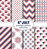 American Independence Day. Seamless patterns set. Happy Independence Day! 4th of July. Set of American backgrounds. Collection of seamless patterns in Royalty Free Stock Photos