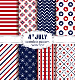 American Independence Day. Seamless patterns set. Happy Independence Day! 4th of July. Set of American backgrounds. Collection of seamless patterns in Royalty Free Stock Image