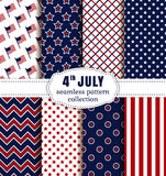 American Independence Day. Seamless patterns set. Happy Independence Day! 4th of July. Set of American backgrounds. Collection of seamless patterns in Royalty Free Illustration