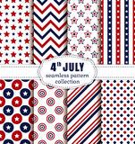 American Independence Day. Seamless patterns set. Happy Independence Day! 4th of July. Set of American backgrounds. Collection of seamless patterns in Stock Photography