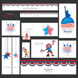 American Independence Day social media ads or headers. Royalty Free Stock Photography