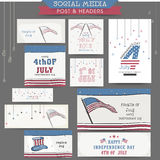 American Independence Day social media ads or headers. Royalty Free Stock Photos