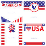 American Independence day template card sets. Royalty Free Stock Photos
