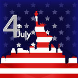 American Independence Day 4th illustration of Stat. Ue of Liberty and New York city graphic vector eps10 Royalty Free Stock Image
