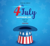 American Independence Day of 4th July with american flag hat  on. Blue background  illustration EPS10 Stock Photos