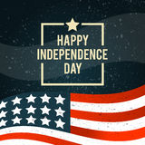 American Independence Day. The 4th of July. Banner with American. National flag c texture. Vector illustration Royalty Free Stock Image