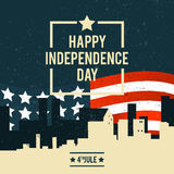 American Independence Day. The 4th of July. A banner with the Am. Erican national flag on the background of city buildings. Vector illustration Stock Illustration