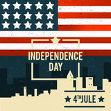American Independence Day. The 4th of July. A banner with the Am. Erican national flag on the background of city buildings. Vector illustration Vector Illustration