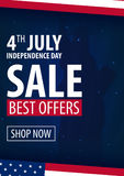 American Independence Day. 4th of July Exclusive Offers Sale, Sale Poster. Template background for greeting cards, posters, leafle Royalty Free Stock Photo