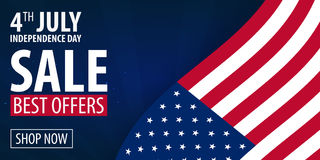 American Independence Day. 4th of July Exclusive Offers Sale, Sale Poster. Template background for greeting cards, posters, leafle Royalty Free Stock Photography