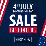 American Independence Day. 4th of July Exclusive Offers Sale, Sale Poster. Template background for greeting cards, posters, leafle Stock Photos