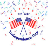 American Independence Day 4 th july. Greeting card design. National flag. Vector illustration.Patriotic symbol holiday poster. Hap Stock Images