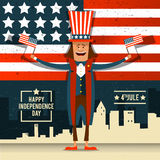 American Independence Day. The 4th of July. A man in national co. Stume at the backdrop of the American flag. Vector illustration vector illustration