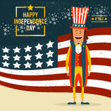 American Independence Day. The 4th of July. Man in traditional c. Ostume on the background of the flag of the United States. Vector illustration stock illustration