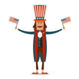 American Independence Day. The 4th of July. Man in traditional c. Ostume on white isolated background with American flags in their hands. Vector illustration vector illustration