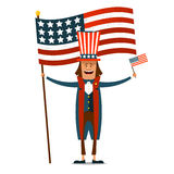 American Independence Day. The 4th of July. Man in traditional c. Ostume on white isolated background with American flags in their hands. Vector illustration stock illustration