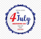 American Independence Day of 4th July with round banner confetti Royalty Free Stock Image