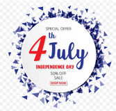 American Independence Day of 4th July with round banner confetti Royalty Free Stock Photography