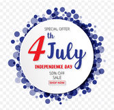 American Independence Day of 4th July with round banner confetti Stock Photo
