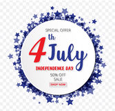 American Independence Day of 4th July with round banner star  Stock Images