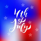 American Independence day 4 th july. Vector illustration. Abstract red-blue-white geometric background with stars and light rays. Lettering 4th July royalty free illustration