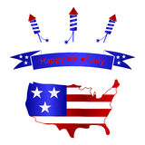 American independence day with USA map celebration eps10 Royalty Free Stock Photos