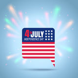 American independence day. Vector icon of a flag USA for 4th july with fireworks. American independence day Stock Photo