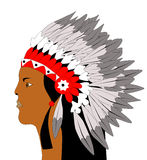 American indian. Picture of face of american indian in traditional costume vector illustration