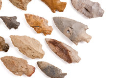 American Indian Arrowheads. Collection of American Indian arrowheads found in Missouri Stock Images