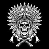 American Indian Chief Skull with Crossed Tomahawks on Black Background stock illustration