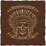 American Indian Chief Skull With Spears. T-shirt label design. Hand drawn illustration Stock Image