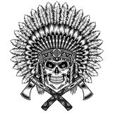 American Indian Chief Skull With Tomahawk Stock Photography