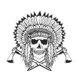 American Indian Chief Skull With Tomahawk. Isolated hand drawn illustration Stock Photos
