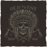 American Indian Chief Skull With Tomahawk. T-shirt label design. Hand drawn illustration Royalty Free Stock Photo