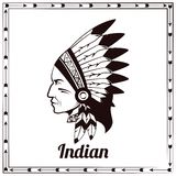 American indian chieftain black sketch Stock Images