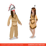 American Indian couple Tribal Chief flat 3d isometric costume Stock Photo