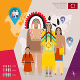 American Indian family in national dress, vector illustration Royalty Free Stock Photo